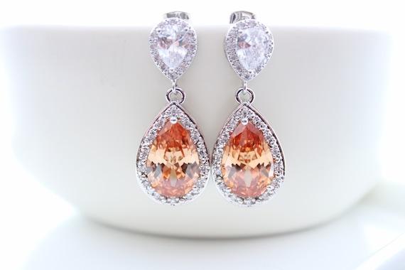Champagne Bridal Earrings Pastel Teardrop Earrings Bride Necklace Peach Earrings Wedding Jewelry Champagne Necklace Bridesmaid Gift