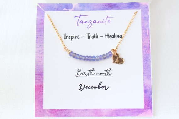 Personalized Tanzanite necklace, Custom initial necklace gold, December birthstone necklace for women, Tanzanite Jewelry