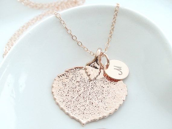 Rose Gold Leaf Necklace Rose Gold Leaf Jewelry Real Aspen Leaf Necklace Christmas Gift Bridesmaid Gift Bridal Party Gift Fall Gift