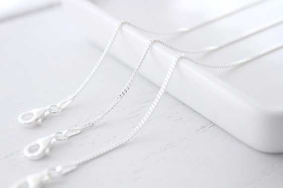 Sterling Silver Chain Necklace, silver plain necklace, curb chain, make your own necklace, solid sterling, simple chain