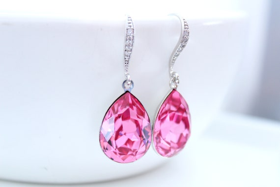 Swarovski earrings Crystal earrings dangle Pink Earrings Bridal Hot Pink Bride Earrings Bridesmaid Gift Bridal Earrings Wedding Jewelry