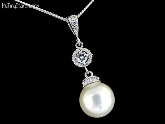 Bridal Necklace CREAM Pearl pendant White Pearl Sterling silver Necklace Single pearl Necklace Bridesmaids Gift Cubic Zirconia