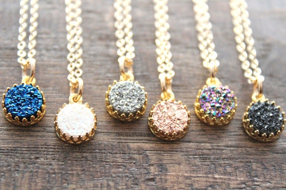 Rose gold Druzy Necklace Gold Necklace Drusy Necklace Druzy Quartz Jewelry Gemstone Necklace Bridesmaid Gifts Dainty Necklace