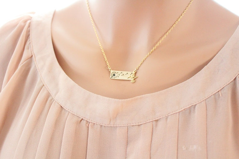 Dandelion Necklace gold hummingbird necklace Christmas Gift For Women Wish Necklace Flower Gold Necklace