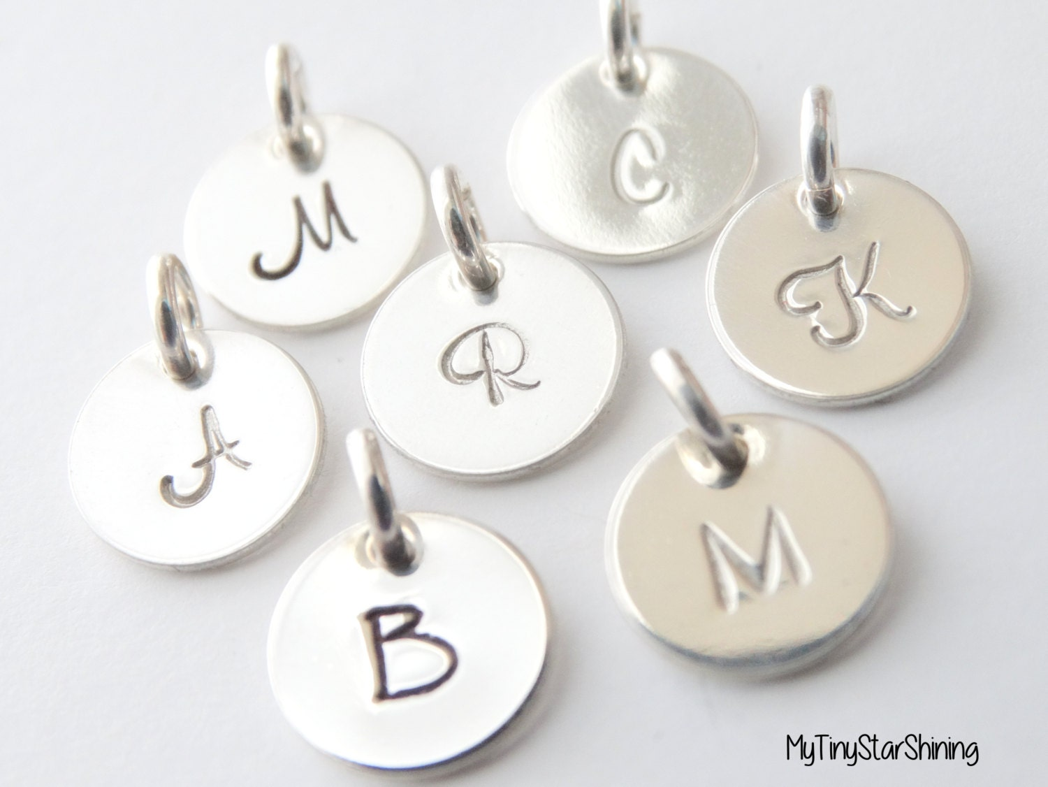Initial charm pendant initial necklace personalized initial charm in initial charm pendant initial necklace personalized initial charm in sterling silver single initial disc pendant tiny charm aloadofball Images