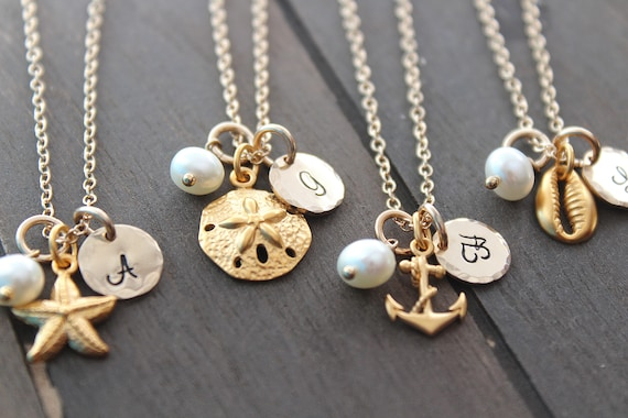 Bridesmaid Necklace Beach Necklace Beach Ocean Wedding Bridesmaid initial necklace Anchor sea shell starfish sand dollar Necklace pearl Gold
