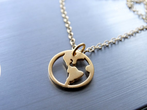 Gold World Map Necklace Map Necklace World Charm Necklace Map Jewelry Travel Necklace World Map Necklace Gold filled Necklace