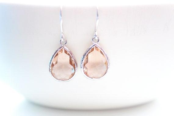 Peach Earrings Champagne Earrings Silver Bridesmaid Earrings Wedding  Bridesmaid Gift Dangle Earrings Bridesmaid Jewelry Wedding Jewelry