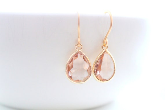 Champagne Earrings Gold Earrings Blush Earrings earrings Peach Earrings Dangle Earrings jewelry Wedding Gift Bridal Gift Bridesmaid Gifts