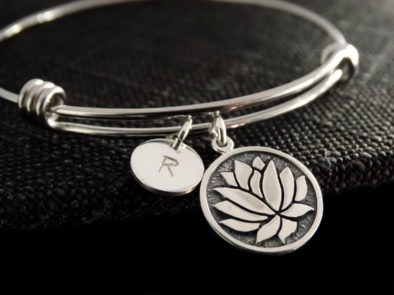 Lotus Bracelet Lotus Flower Jewelry Silver Bracelet Yoga bracelet Personalized jewelry Silver Bangle
