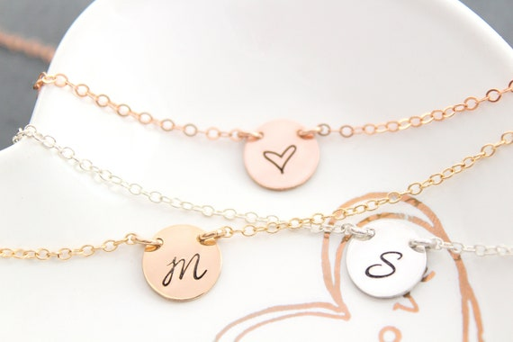 Initial Necklace, Engraved Necklace, Initial Disc Necklace, Letter Necklace,Charm Necklace, Gift for Her, Mothers Day Gift, Wife, Mom Gift