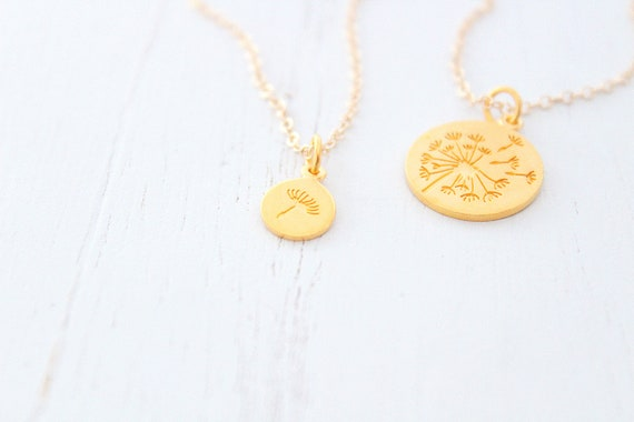 Dandelion necklace in gold for mother daughter necklace set of 2, mother daughter gift, gifts for mom from daughter, Christmas gift