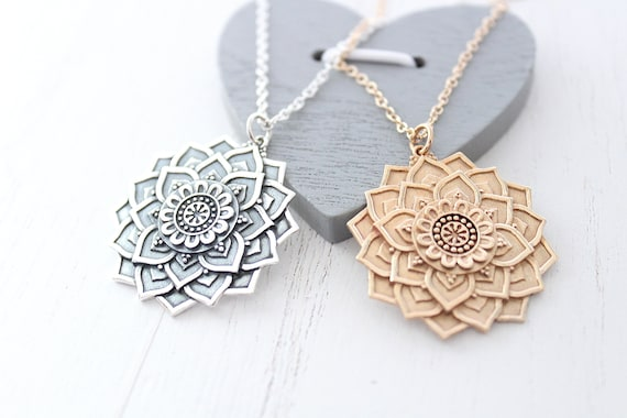 Large Mandala Necklace in Silver or gold • Lotus mandala necklace • Zen Jewelry • Charm boho • Bohemian jewelry • Yoga Gift • flower pendant