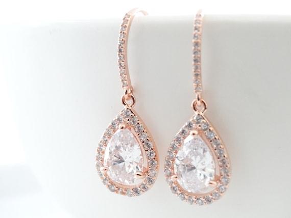 Rose Gold Earrings Bridesmaid Gift Crystal Bridal Earrings Crystal Wedding earrings Crystal earrings Wedding Jewelry Cubic Zirconia earings