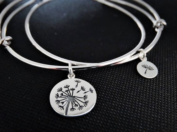 Mother daughter bracelets, set of 2 Bracelets, Mother daughter gift, Mother of the Bride Gift, Dandelion Bracelet Silver