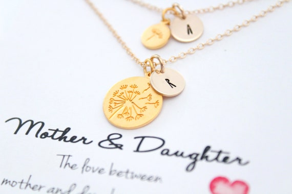 Gold Dandelion, Mother daughter necklaces, Birthday gift for mom from daughter, Birthday gift for mother, Initial Necklace