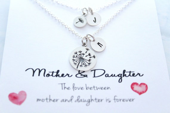 Silver Dandelion Mother daughter necklace Mother of the bride gift sterling silver charm Mother daughter jewelry sets Gift for mom