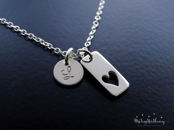 Heart Necklace with Initials Necklace Initial Charm Personalized Jewelry Mother's Necklace Silver Heart Necklace Gift For Her