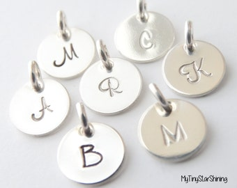 Initial Charm, Initial Pendant, hand stamped initial charm, Personalized Initial Jewelry, Sterling Silver Initial letter, Monogram charm