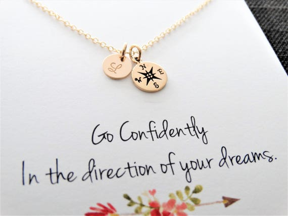Compass Necklace gold, Initial Necklace Gold,True north, Graduation gift, Friendship Necklace, Best Friend Gift, Personalized jewelry