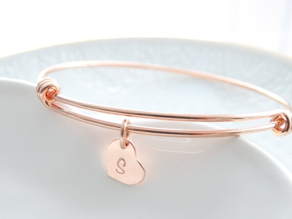 Personalized Bracelet, initial jewelry, Rose Gold Bangle Bracelet, charm Bracelet, Mother's day gift, Valentine's day gift