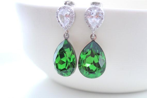 Light Green Earrings Bridal Earrings Bride Earrings Wedding Jewelry Swarovski Crystal Wedding Earrings Fern Green Bridesmaid Gift