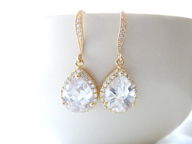 Wedding Jewelry Bridal Jewelry GOLD Bridal Earrings Bridesmaid image 0