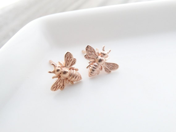 Rose Gold Bee earrings  Bee Jewelry  Bumble Bee Studs Bee Studs Bumble Bee Earrings Bee Stud Earrings Bumble Bee Stud Earrings