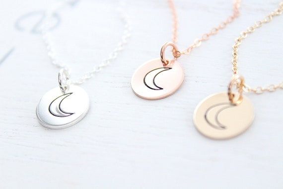 Moon Necklace in gold • Dainty Moon Necklace • Choker Moon Necklace • Delicate Moon Necklace • Silver Moon Necklace • Crescent Moon