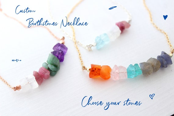 Raw Crystal necklace, Crystal necklace for women, Family necklace personalized gift for her, Birthstone necklace, custom necklace