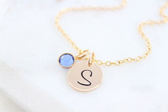 Initial necklace with birthstone, Personalized necklace for women Personalized Gift for Her, Christmas Gift, Large initial disc charm