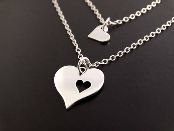 Mother Daughter necklace set silver heart necklace, gifts for mom from daughter, mother gift from daughter, mothers day from daughter