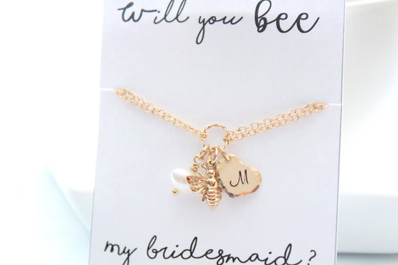 Will you be my bridesmaid ? Personalized Jewelry Card for Bridesmaids Gift Bee bracelet Initial Bracelet bee Jewelry Honey Bee necklace Gold
