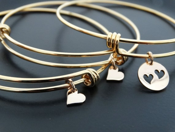 Gold Bangle Bracelet, Mother's day gift from daughter,  Mother daughter Jewelry set of 3 Bangle Bracelets, Gold heart Bracelets