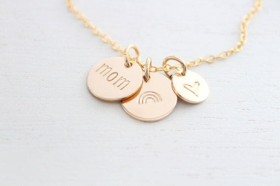 Rainbow Necklace gold silver or rose gold, Rainbow charm, Angel Mama Necklace, Personalized Gift for Mom Necklace, Gift for Her