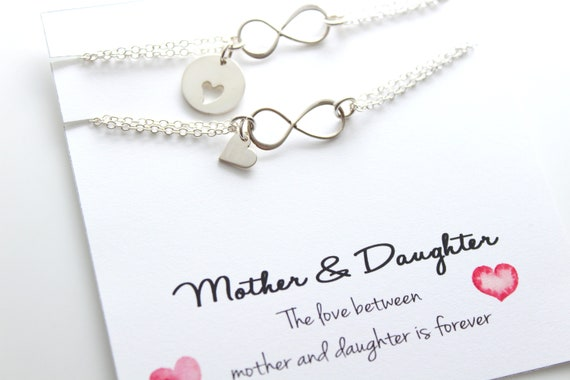 Mother Daughter Bracelet set of 2 Bracelets Gift Infinity Bracelet Heart mom bracelet Mother of the Bride Christmas Jewelry Gift