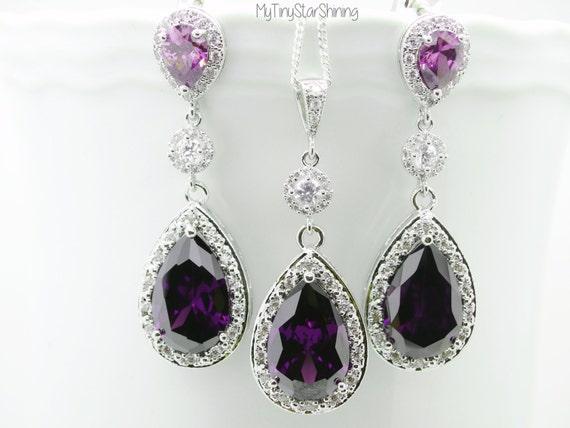 Purple Wedding Jewelry Amethyst Teardrop Bridal Earrings Plum Bride Necklace Dark Purple Bridesmaid Gift Cubic Zirconia February Birthstone