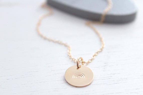 Rainbow Necklace gold • Tiny Gold Rainbow • Sterling Silver Rainbow Charm Necklace Minimalist • Pride Necklace • Rainbow baby necklace