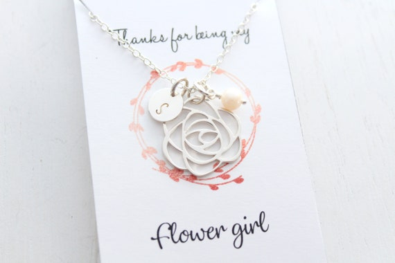 Flower Girl Necklace rose gold necklace with personalized Flower Girl Gift. Thank You for Being my Flower Girl, Flower Girl Jewelry