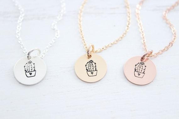 Cactus necklace for women •  Cactus necklace sterling silver •  succulent charm • southwest jewelry • cacti pendant • dainty cactus