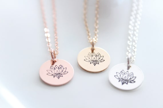 Lotus Necklace Lotus charm Yoga Gift for Mom Gift for Her ,boho jewelry , yoga inspired , lotus silver