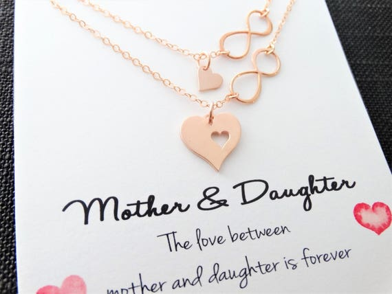 Mother daughter Necklace Set Rose Gold heart Necklace Infinity heart necklace mother daughter Gift Mother of the Bride Gift Mom Necklace
