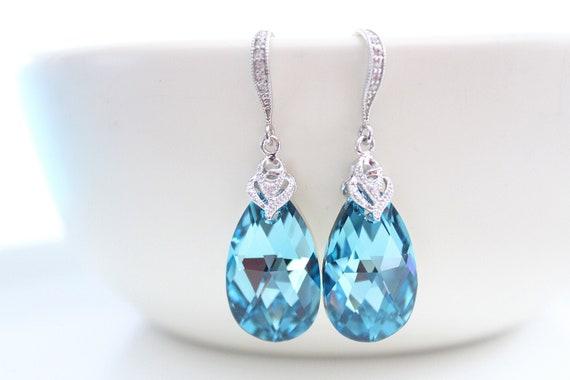 Teal Earrings Swarovski Crystal Earrings Light blue Earrings Aquamarine Earrings Bridal Wedding Jewelry Turquoise Earrings Bridesmaid Gift