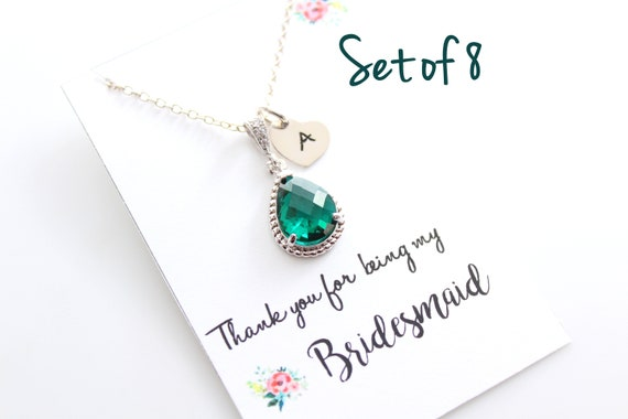 Personalized Bridesmaid Necklace Set of 8 Bridal jewelry Bridesmaid Gift Teardrop Necklace Wedding Jewelry Choose your color