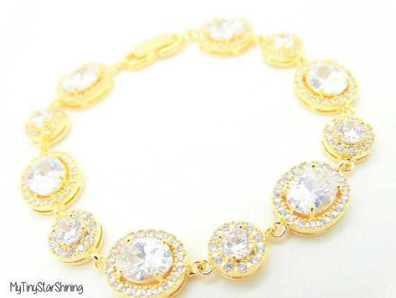 Wedding jewelry, Bridesmaid jewelry, Wedding Bracelet, Bridal bracelet, Clear cubic zirconia gold bracelet