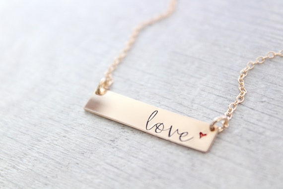 Love bar necklace in gold , personalized bar, couple bar necklace, Engraved Name necklace, Simple dainty necklace