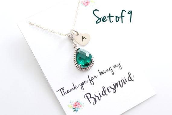 Personalized Bridesmaid Necklace Set of 9 Bridal jewelry Bridesmaid Gift Teardrop Necklace Wedding Jewelry Choose your color