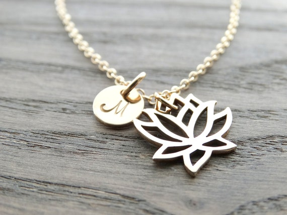 Lotus Necklace, Gold Lotus flower Necklace, Lotus charm, Yoga Jewelry, Lotus Jewelry, Initial Necklace, Personalized Jewelry