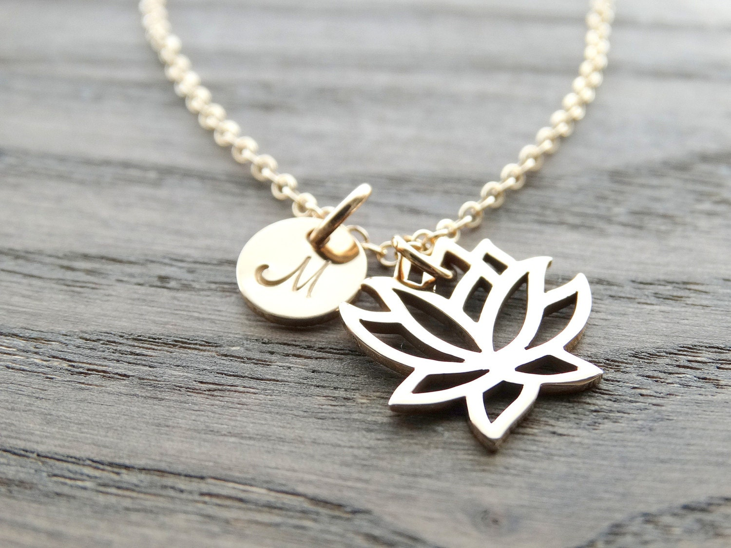 Lotus Necklace Gold Lotus Flower Necklace Lotus Charm Yoga Jewelry
