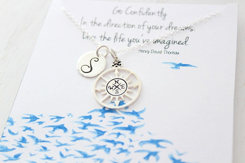 Personalized jewelry compass necklace Silver  Best Friend image 0